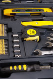 Tool Box Set. Containing a hammer, pliers, screwdriver, removable screwdriver heads and other stock images