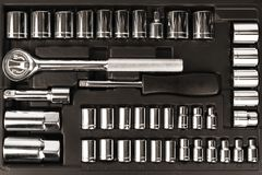 Tool box, set of wrenches and bits. Top view. royalty free stock photos
