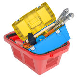 Tool box in shopping basket Stock Image