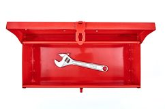 Tool Box. A studio photo of a industrial tool box Royalty Free Stock Photo