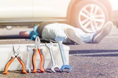 Tool box with wrenches and pliers for car repair Royalty Free Stock Photos