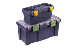 Tool Boxes. Two diy type tool boxes stacked on top of eachother Stock Photo