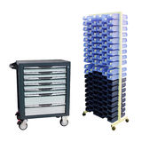 Tool boxes on the mobile stand Stock Photography