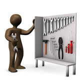Tool cabinet, brown figurine with wrench Royalty Free Stock Photography