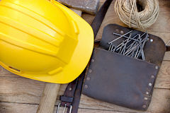 Tool carpenters on table. Tool of carpenters on rustic table close up Royalty Free Stock Photography
