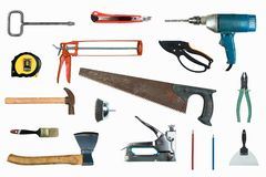 Many Tools isolated on white background. Top view. stock photo
