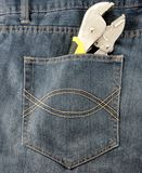 Tool construction within pocket. Jeans Stock Photo