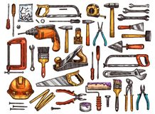 Tool for construction and repair work sketch. Set. Hammer, screwdriver and wrench, pliers, spanner, paint brush and roller, drill, saw, trowel and screw, tape Stock Photography