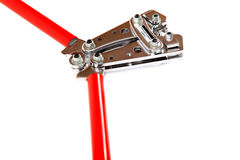 Tool for crimping electrical cables on white background. Stock Image