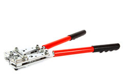 Tool for crimping electrical cables on white background Royalty Free Stock Photography