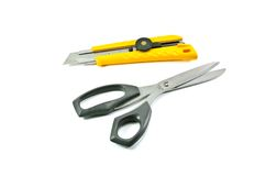 Tool cutter. Box cutter knife isolated on white background Stock Photo