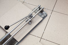 Tool for cutting porcelain tile Stock Image