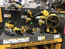 Lowes Home Improvement Store. Tool Department at Lowes. Lowes is a U.S.-based chain of retail home improvement and appliance stores. This store is located in Stock Image