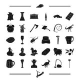 Tool, Desert, landmark and other web icon in black style. England, food, credit card icons in set collection. Royalty Free Stock Photos