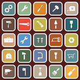 Tool flat icons on red background Stock Photo