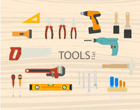 Tool flat vector icons set of wood Royalty Free Stock Photos