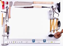 Tool frame. Different types of tools making frame on white Royalty Free Stock Photo
