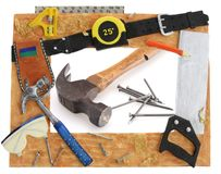 Tool Frame. Hammer square saw tape measure stock images