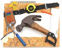 Tool Frame of Hammer. Tool Frame hammer square saw tape measure with hammer royalty free stock images