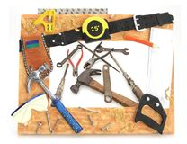Tool Frame of Tools. Tool Frame hammer square saw tape measure with tools stock image