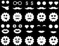 Tool, gear, smile, emotion icons Royalty Free Stock Image