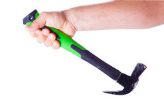 Tool hammer in one hand Royalty Free Stock Photography