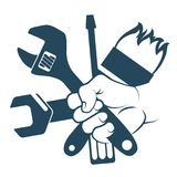 Tool in hand. Tool for repair in hand symbol Royalty Free Stock Photos