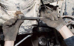 The tool in hands. Transmission repair. Car service. The tool in hands. Transmission repair Royalty Free Stock Photos