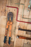 Tool hang on wood wall Stock Images