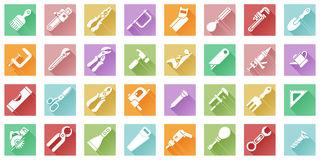 Tool icons flat shadow style Stock Photo