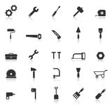 Tool icons with reflect on white background Royalty Free Stock Photography
