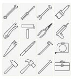Tool icons set. Vector tool icons set 16 black color Royalty Free Stock Photography