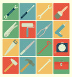Tool icons set. Vector flat icons tool colorful set Stock Photo