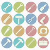 Tool icons set. Vector white icons tool set 16 with color circle Royalty Free Stock Photo