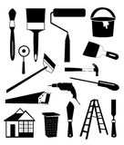 Tool Ions Set. Vector illustration of tool icons set that related to build a home on white background Stock Photos