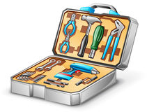 Tool kit. Vector illustration of tool kit on white background Stock Photos
