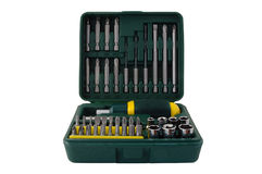 Tool kit. Plastic box with different screwdrivers royalty free stock photography