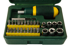 Tool kit. Plastic box with different screwdrivers stock photo