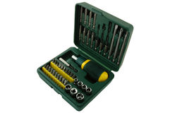 Tool kit. Plastic box with different screwdrivers stock image