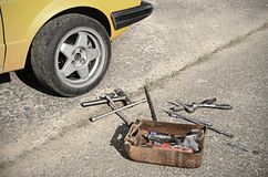 Tool kit on the asphalt Stock Photos