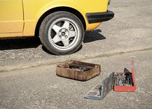 Tool kit on the asphalt Royalty Free Stock Image