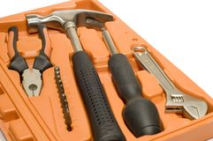 Tool kit in box royalty free stock photo