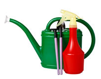 Tool kit for the care of indoor plants. (watering can, rake, shovel, spray), isolated on a white background Royalty Free Stock Photography
