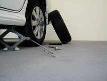 Tool kit for changing car tires. stock image