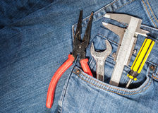 tool kit in jean pocket Royalty Free Stock Images