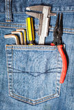 tool kit in jean pocket Stock Image