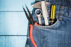 tool kit in jean pocket Stock Image
