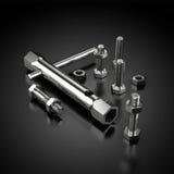 Tool-Kit mit Bolzen und Schrauben am Schwarzen Lizenzfreies Stockfoto