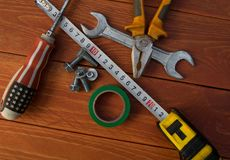 Tool kit on workbench top view royalty free stock photography