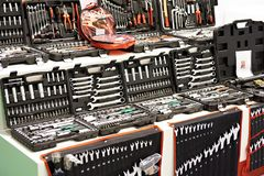 Tool kits for cars in store. Tool kits for cars, trucks and tractors in store stock image